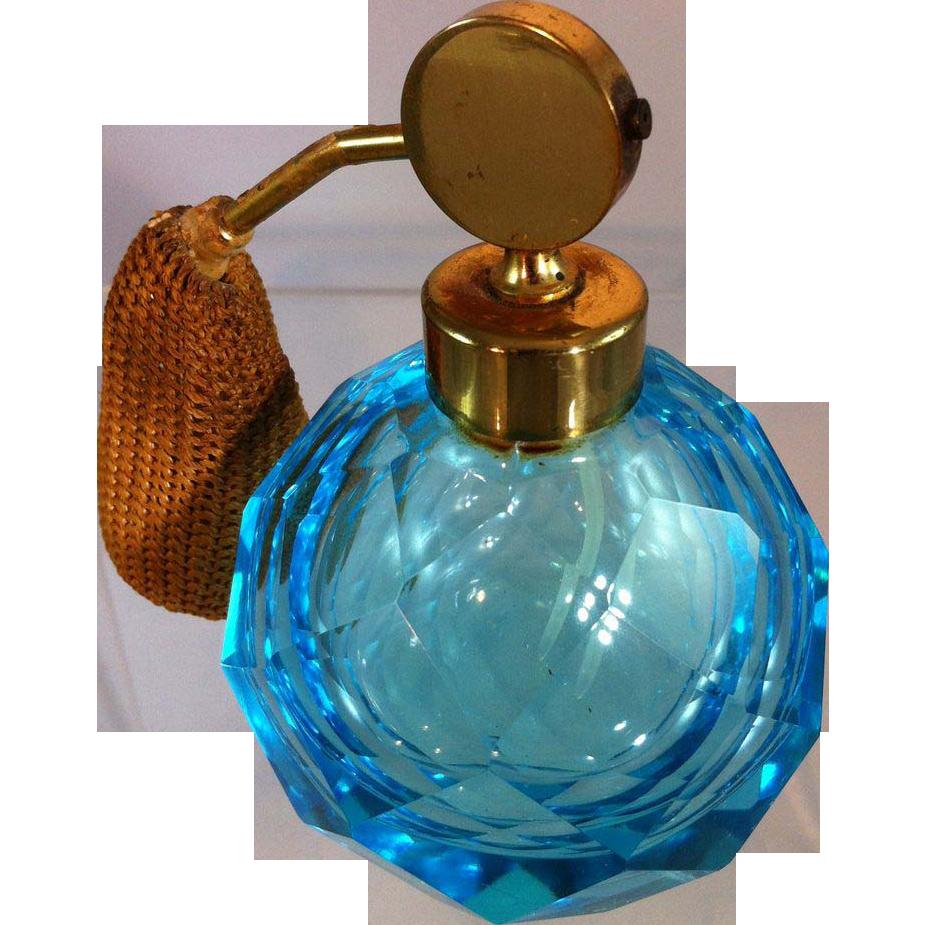Blue cut glass perfume bottle from sterlingsage on ruby lane for How do i cut glass bottles