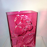 Cranberry Glass Rose Vase