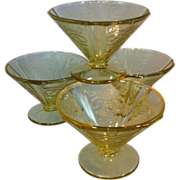 Amber Depression glass sherbets