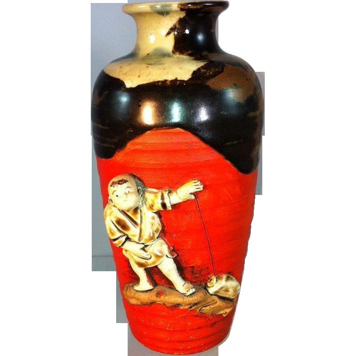 Japanese Red Sumida Ware vase