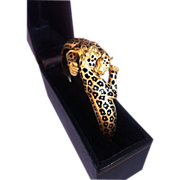 18k Leopard and diamond bangle bracelet