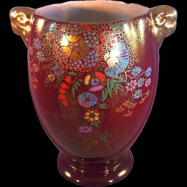 Crown Devon Fieldings Rouge Lusterware Vase From