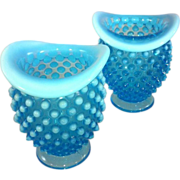 Pair of Fenton Blue Hobnail Vases