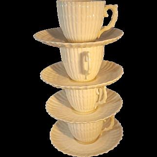 Irish Belleek demitasse cup and saucers