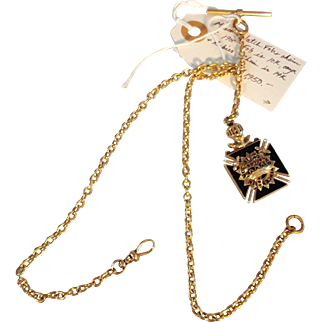Gold Watch Chain and Fob