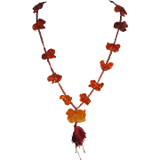 Vintage Chinese Red Jade Fetish Necklace
