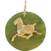 Jadeite and Gold Horse Pendant