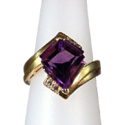 Fancy-cut Amethyst & Diamond Ring