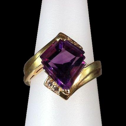 Fancy-cut Amethyst & Diamond Ring
