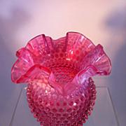 Fenton Cranberry Hobnail Vase