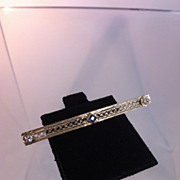 Edwardian Era 14k Gold, Diamond and Sapphire Bar Pin