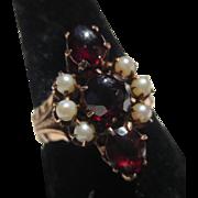 Victorian Bohemian Garnet Seed Pearl 14k Rose Gold ring