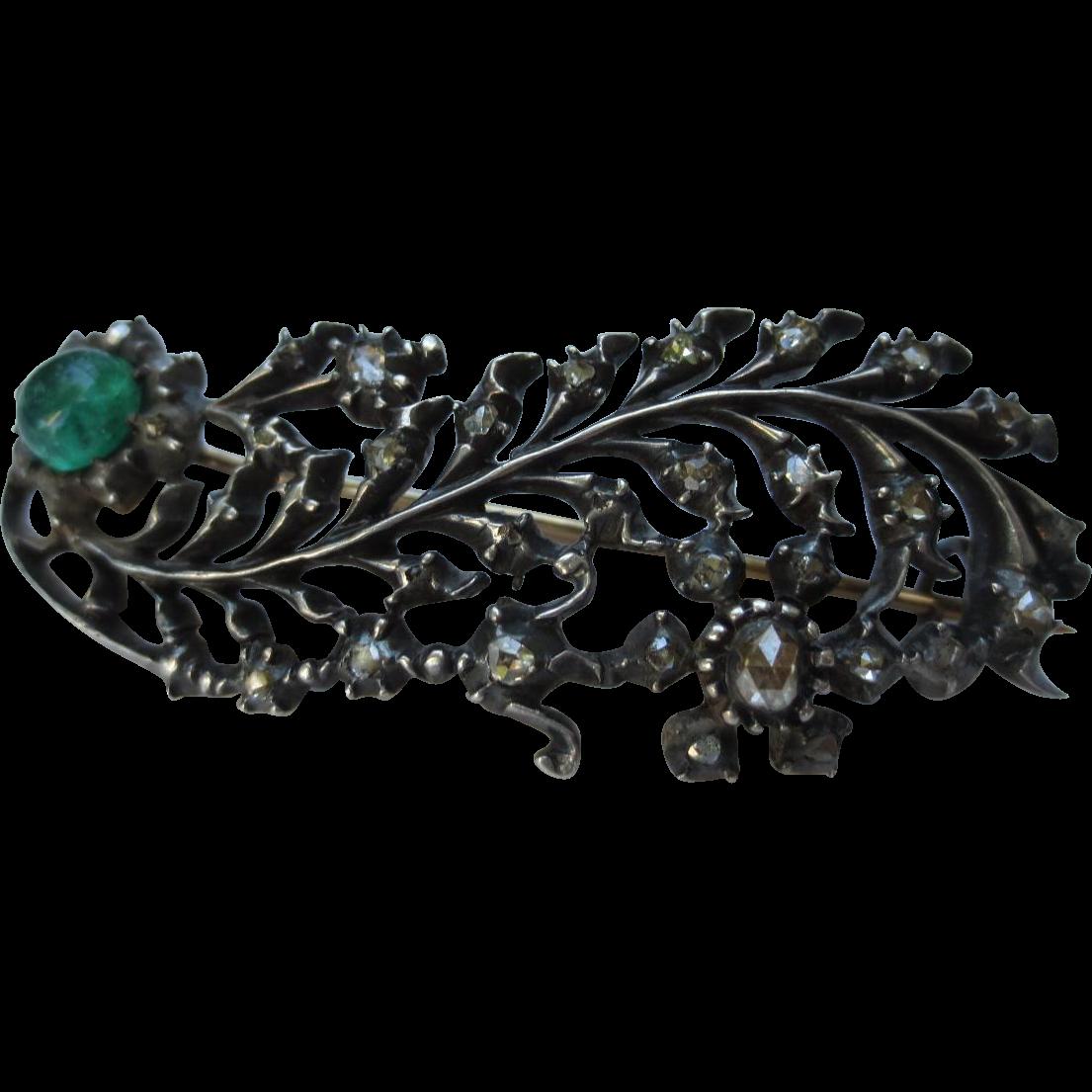 Georgian Rose Cut Diamond & Emerald Silver Feather Brooch