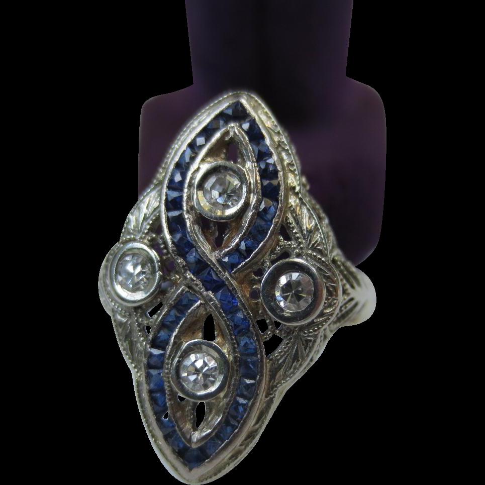 Art Deco 14k White Gold Filigree Diamond & Sapphire Ring