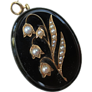 Victorian 14k Gold, Pearl & Onyx Mourning Pendant Lily of the Valley Flower