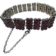 Beautiful Bohemian Garnet Victorian Silver articulated Bracelet