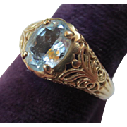Vintage 14k Gold Filigree Aquamarine Ring