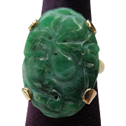 Antique Chinese 14k Gold Carved Jade Cocktail Ring