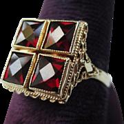 Lovely Victorian Antique 14k Gold Bohemian Garnet Etruscan Ring
