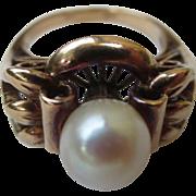 Edwardian 14k Gold & Pearl Antique Cocktail Ring