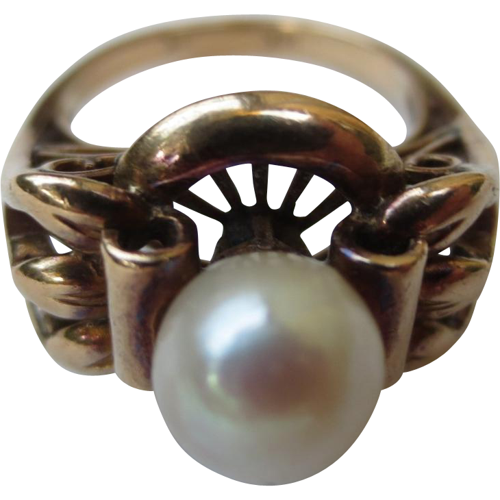 Edwardian 14k Gold & Pearl Antique Cocktail Ring