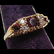 Elegant Victorian Garnet & Diamond 14k Gold Ring