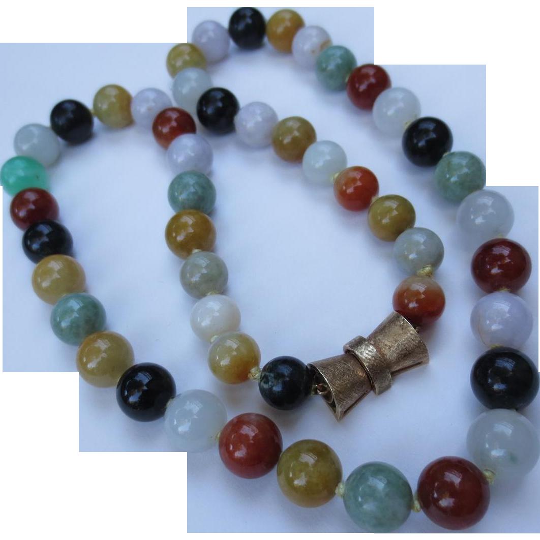 Quality Natural Jade 14k Gold Fine Vintage Bead Necklace