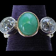 Beautiful Edwardian 18k Yellow Gold Diamond & Jade Ring