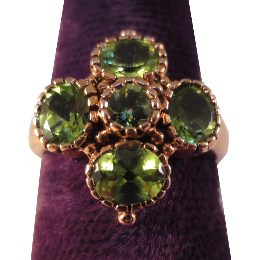 Victorian 9K Rose Gold Peridot Clover Antique Etruscan Ring
