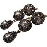 Rose Cut Diamond Victorian Silver & Gold Antique Chandelier Earrings