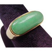 Mens Vintage 14k Yellow Gold Jade Saddle Ring