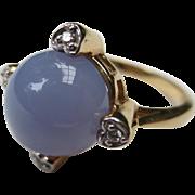Lovely 14k Gold Vintage Heart Diamond & Chalcedony Cocktail Ring