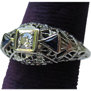 Edwardian / Deco 18k White Gold Sapphire & Diamond Filigree Ring