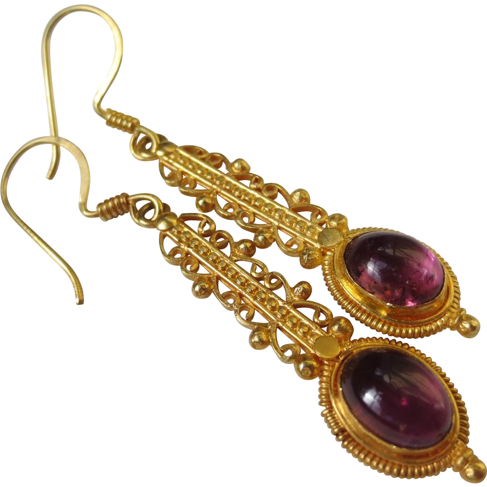 Vintage Etruscan Revival 18k Gold Tourmaline Chandelier earrings