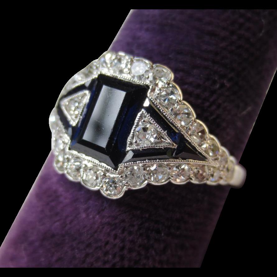 Elegant Art Deco Platinum Diamond & Sapphire Ring