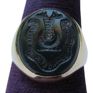 Victorian Signet Bloodstone Seal Ring 10k Gold Dragon Crescent Moon