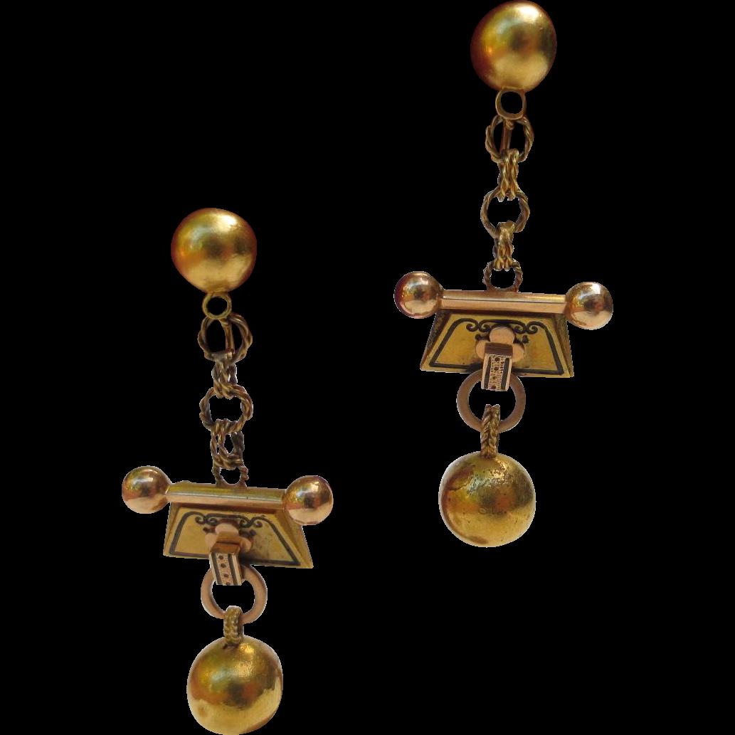 Victorian Etruscan Revival 10k Gold Enamel Chandelier Ball & Chain Earrings