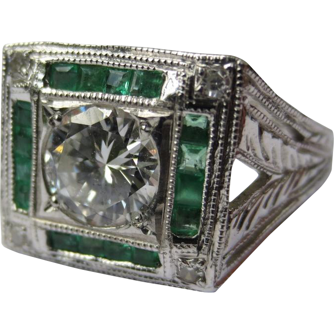 Art Deco Style Platinum Diamond & Emerald Ring