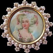 Fine Victorian Miniature Portrait painting 14K gold Pearl & Diamond Pendant