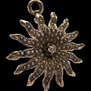Victorian Starburst 14k Gold Seed Pearls & Diamond Pendant