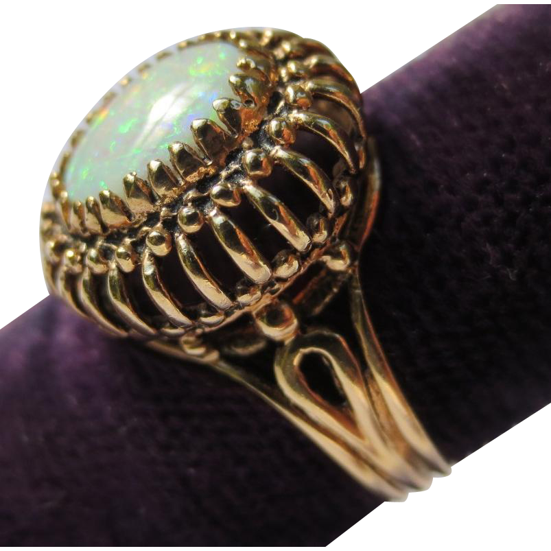 Regal Edwardian Fire Opal 14k Gold Ring