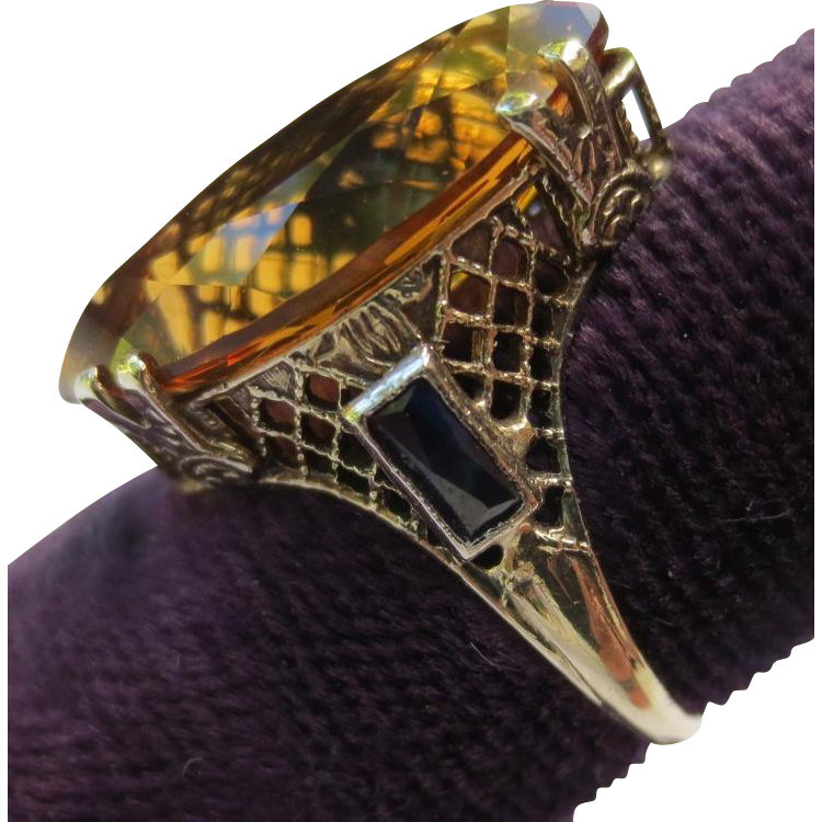 Antique 10k White Gold Citrine & Sapphire Filigree Ring