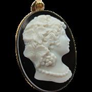 Antique hardstone Cameo Portrait Pendant of Ariadne 14k Gold setting