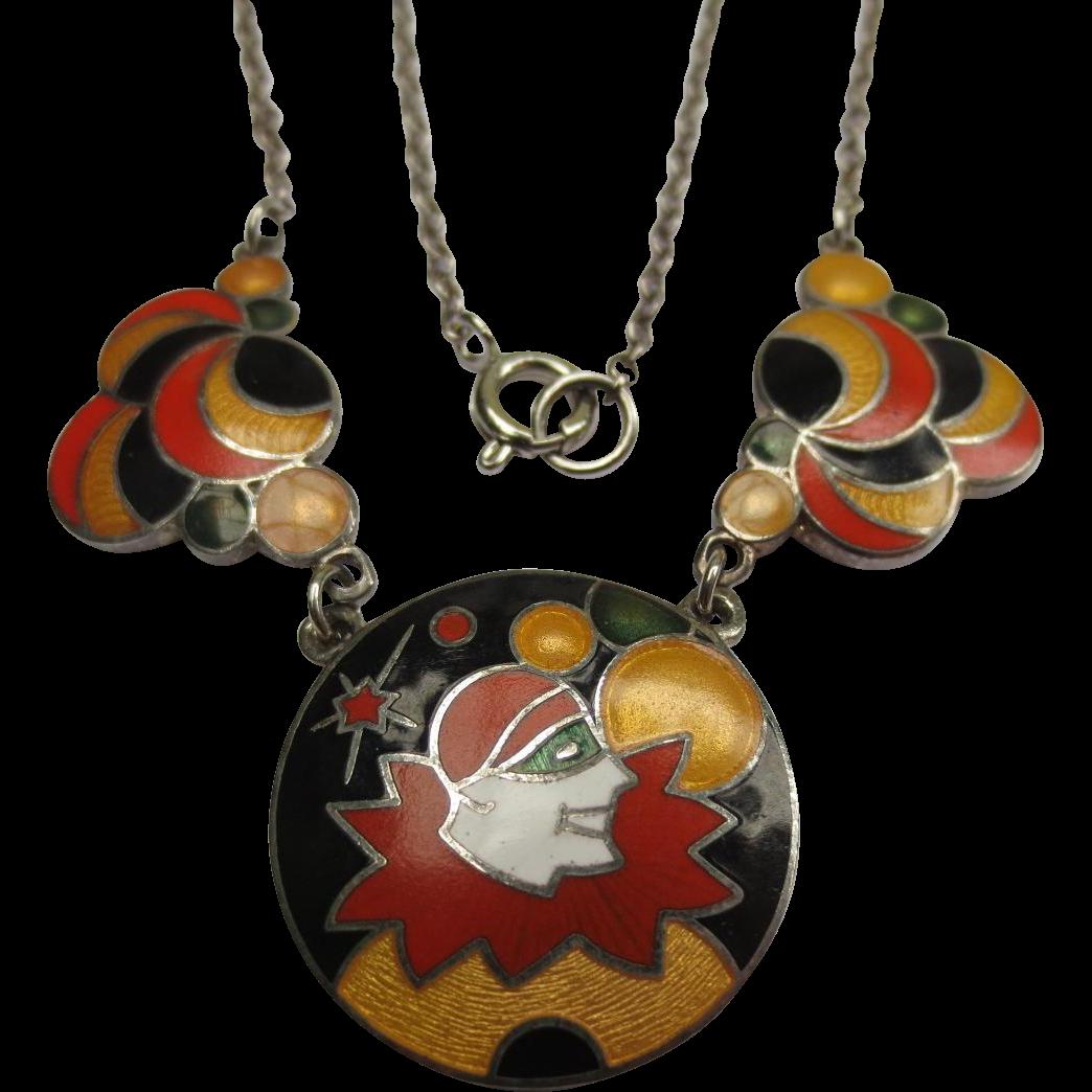 Art Deco Guilloche Enamel Harlequin Clown Bubble Necklace
