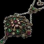 Austro Hungarian Silver, Enamel and Paste Stones Lavalier Renaissance Revival Necklace