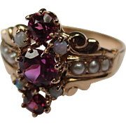 Victorian Opal, Garnet and Pearl 14k Gold Ring