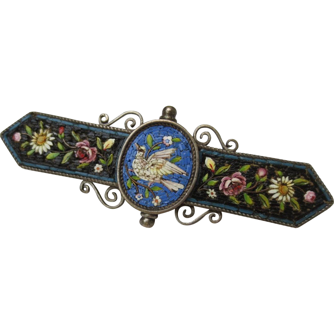 Victorian Silver Micro Mosaic tile Dove flowers brooch