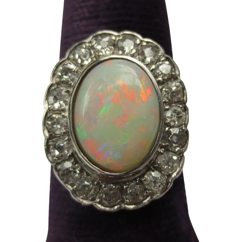 Lovely Antique Platinum Fire Opal & Diamond Halo Ring