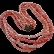 Vintage 1940's Multi-Strand Angel Skin Coral Bead Necklace