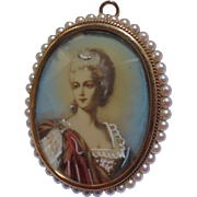 Vintage Early 1900's Miniature Portrait Painting 14K Gold & Seed Pearl Pendant / Brooch